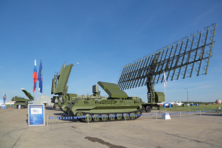 ranging: ZHUKOVSKY, MOSCOW REGION, RUSSIA - AUG 24, 2015: Self-propelled radar systems at the International Aviation and Space salon MAKS-2015 Editorial
