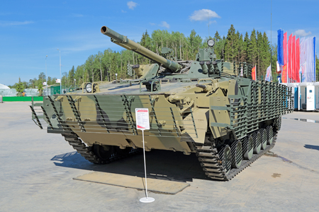 propelled: KUBINKA, MOSCOW OBLAST, RUSSIA - JUN 18, 2015: International military-technical forum ARMY-2015 in military-Patriotic park. The BMP-3M (infantry combat vehicle) is a second-generation, amphibious infantry fighting vehicle introduced in the 1980s in the So
