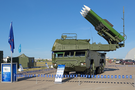 gadfly: ZHUKOVSKY, MOSCOW REGION, RUSSIA - AUG 24, 2015: The anti-aircraft Buk missile system (SA-11 Gadfly) at the International Aviation and Space salon MAKS-2015 Editorial