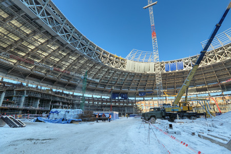 cup of russia: MOSCOW, RUSSIA - FEB 10, 2015: Preparation 2018 FIFA World Cup, reconstruction Luzhniki Stadium