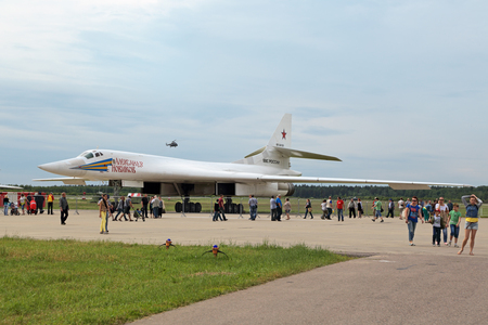 supersonic: KUBINKA, MOSCOW OBLAST, RUSSIA - JUN 19, 2015: International military-technical forum ARMY-2015 at the Kubinka air base. The Tupolev Tu-160 White Swan (NATO reporting name: Blackjack) is a supersonic, variable-sweep wing heavy strategic bomber and missi