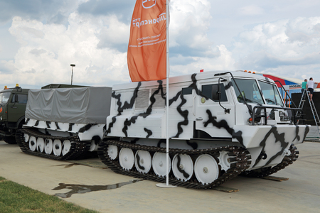 industrially: KUBINKA, MOSCOW OBLAST, RUSSIA - JUN 15, 2015:  Two-tier tracked all-terrain amphibian vehicle for the Arctic at the International military-technical forum ARMY-2015