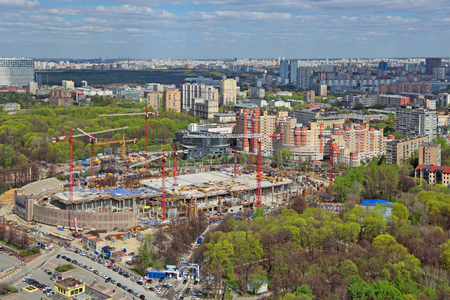 MOSCOW, RUSSIA - MAY 05, 2015: Moscow cityscape. Top view of the construction site Central Dynamo Stadium. Preparations for the FIFA world Cup 2018 Редакционное