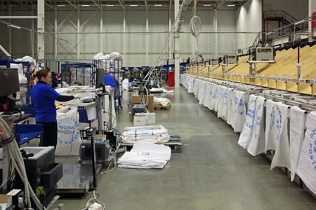 unitary: VNUKOVO, MOSCOW REGION, RUSSIA - APR 7, 2015: Russian Post. Logistics center in Vnukovo. Screening plant