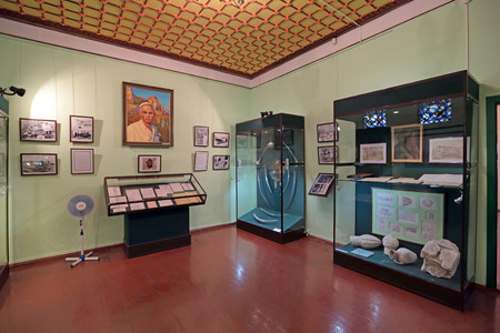 historian: BAKHCHISARAY, REPUBLIC CRIMEA, RUSSIA - AUG 12, 2014: The interior of the Bakhchisaray Palace (Hansaray) the residence of the Crimean khans XVI century. The exhibition is dedicated to Usein Bodaninsky - historian, ethnographer, the first Director of the B Editorial