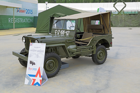 mb: KUBINKA, MOSCOW OBLAST, RUSSIA - JUN 15, 2015: International military-technical forum ARMY-2015 in military-Patriotic park. The Willys MB (Jeep) рroduced 1941 is a four-wheel drive utility vehicle that was manufactured during World War II Editorial