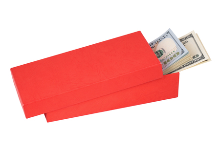 red bills: Dollar bills sticking out a half-open red box, isolated on white background