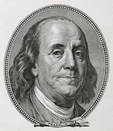 the statesman: Portrait of Benjamin Franklin, is depicted on the banknote one hundred dollars USA