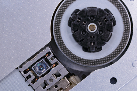 device disc: The laser and the drive device Compact Disc, close-up Stock Photo