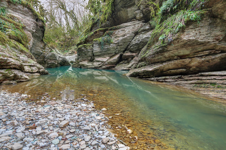 krasnodar region: Krasnodar region, Russia. Sochi National Park in Western Caucasus, near the city of Sochi. The picturesque canyon of the river Psakho, nobody