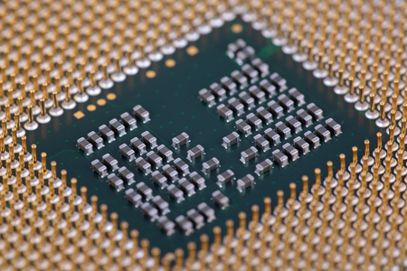 intel: Pins platform of modern central processing unit, close-up Stock Photo