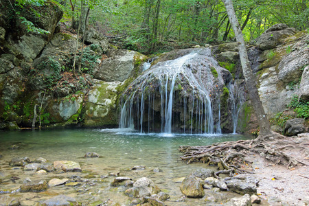 hydrological: Cascading waterfalls on the river Ulu-Uzen East (Megapotamo) on the southern coast of the Crimea in the gorge Khaphal, Russia. The territory of the state of the hydrological reserve Stock Photo