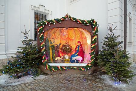 guarder�a: Mosc�, Rusia - ENE 19: bel�n de Navidad (Nacimiento) en el templo de la Anunciaci�n de la Virgen Mar�a en Solntsevo Editorial