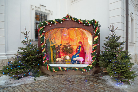 a righteous person: MOSCOW, RUSSIA - JAN 19: Christmas creche (Nativity scene) at the Temple of Annunciation of the Blessed Virgin Mary in Solntsevo