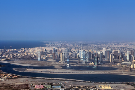 persian gulf: Emirate of Sharjah cityscape, Persian Gulf, view from a height