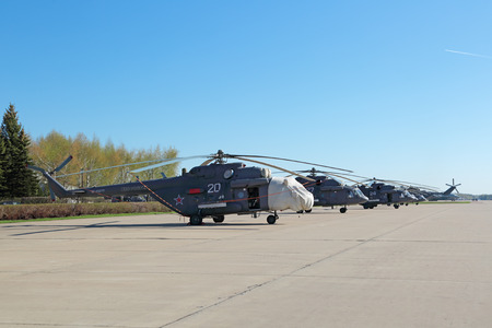 may fly: KUBINKA, MOSCOW REGION, RUSSIA - MAY 05, 2015: The Mil Mi-8 is a transport assault helicopter military purpose preparing to fly over Moscow in rehearsal 70 anniversary of the Victory Parade in WWII Editorial