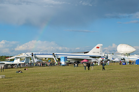 supersonic transport: ZHUKOVSKY, MOSCOW REGION, RUSSIA - AUG 30, 2015: Tupolev Tu-144 plane was the first in the world commercial supersonic transport aircraft at the International Aviation and Space salon MAKS-2015