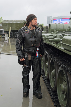 par: KUBINKA, MOSCOW OBLAST, RUSSIA - JUN 16, 2015: Alexander Zaldostanov, also known as Surgeon, is a leader Russian largest motorcycle club Night Wolves, political activist at the International military-technical forum ARMY-2015 in military-Patriotic par Editorial