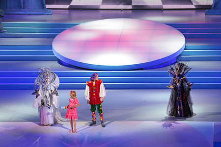 stage actors: MOSCOW, RUSSIA - DEC 27, 2014: Childrens Christmas show in State Kremlin Palace in Moscow Kremlin. The actors on the stage