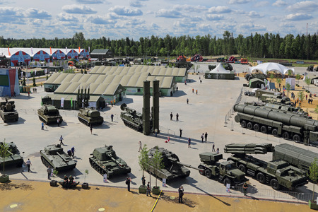 industrially: KUBINKA, MOSCOW OBLAST, RUSSIA - JUN 17, 2015: International military-technical forum ARMY-2015 in military-Patriotic park. Top view, panorama