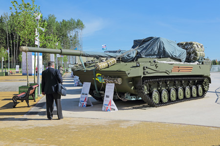 propelled: KUBINKA, MOSCOW OBLAST, RUSSIA - JUN 18, 2015: International military-technical forum ARMY-2015 in military-Patriotic park. The 2S25 Sprut-SD is a self-propelled tank destroyer or light tank