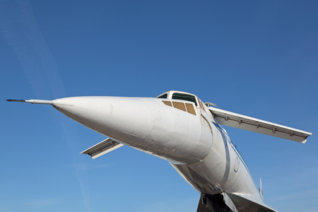 supersonic transport: ZHUKOVSKY, MOSCOW REGION, RUSSIA - AUG 24, 2015: The Tupolev Tu-144 plane was the first in the world commercial supersonic transport aircraft at the International Aviation and Space salon MAKS-2015