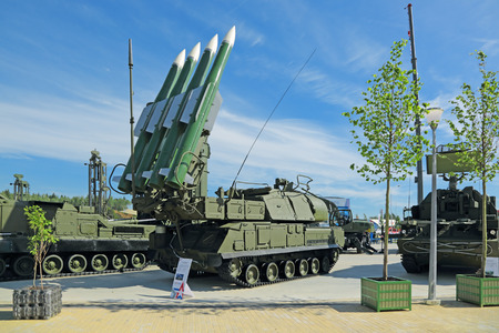 gadfly: KUBINKA, MOSCOW OBLAST, RUSSIA - JUN 19, 2015: International military-technical forum ARMY-2015 in military-Patriotic park. The Buk (SA-11 Gadfly)- russian self-propelled, medium-range surface-to-air missile system Editorial