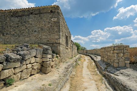 Manor of Firkovich XVIII century, a Karaite hebraist scientist in medieval cave city-fortress Chufut-Kale, Bakhchysarai, Republic of Crimea, Russia