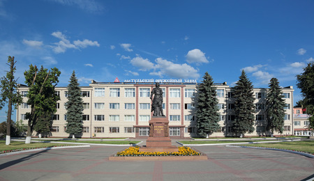 TULA, RUSSIA - JUN 13, 2015: The monument to the Tsar of All Russia Peter the Great about famous building of the Tula Arms Plant