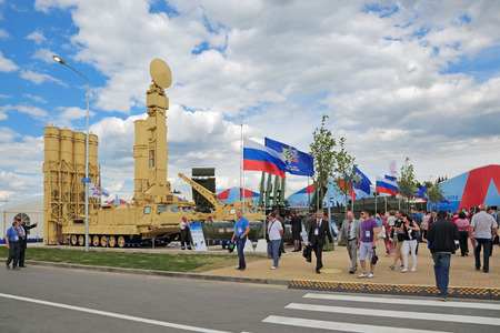 KUBINKA, MOSCOW OBLAST, RUSSIA - JUN 15, 2017: The S-300VM Antey-2500 (SA-23 GladiatorGiant) is a Russian air defense system with anti ballistic missiles of short and medium range at the International military-technical forum ARMY-2015 in military-Patr