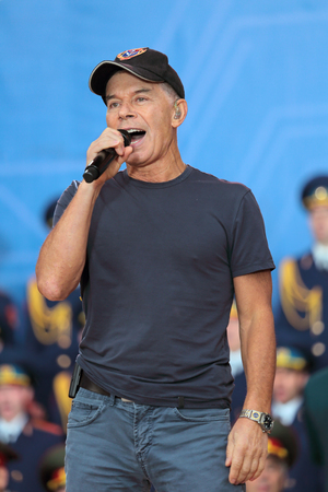pop singer: KUBINKA, MOSCOW OBLAST, RUSSIA - JUN 19, 2015: The Oleg Gazmanov - Russian pop singer, composer and poet, specializing in patriotic songs at the closing ceremony of the International military-technical forum ARMY-2015 in military-Patriotic park