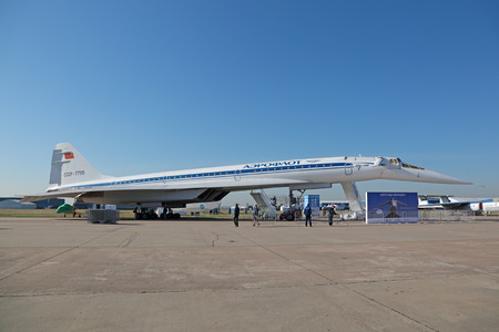 supersonic transport: ZHUKOVSKY, MOSCOW REGION, RUSSIA - AUG 25, 2015: Tupolev Tu-144 plane was the first in the world commercial supersonic transport aircraft at the International Aviation and Space salon MAKS-2015