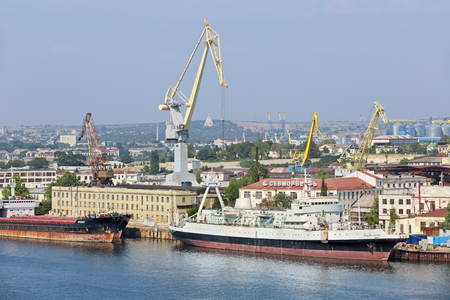 shipbuilding: SEVASTOPOL, REPUBLIC OF CRIMEA, RUSSIA - AUG 10, 2014: Shipbuilding company LLC Sevmorverf that is part of the JSC Sevastopol marine plant