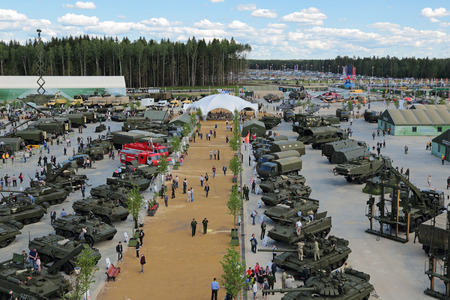 attendee: KUBINKA, MOSCOW OBLAST, RUSSIA - JUN 17, 2015: International military-technical forum ARMY-2015 in military-Patriotic park. Top view, panorama