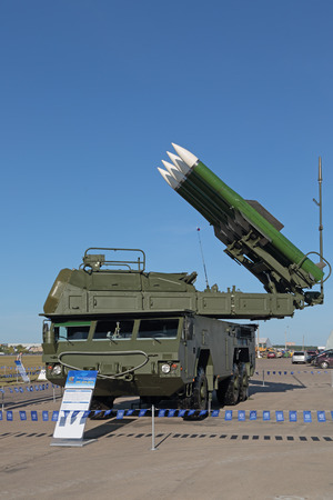 armaments: ZHUKOVSKY, MOSCOW REGION, RUSSIA - AUG 24, 2015: The anti-aircraft Buk missile system (SA-11 Gadfly) at the International Aviation and Space salon MAKS-2015 Editorial
