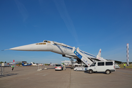 supersonic transport: ZHUKOVSKY, MOSCOW REGION, RUSSIA - AUG 24, 2015: Tupolev Tu-144 plane was the first in the world commercial supersonic transport aircraft at the International Aviation and Space salon MAKS-2015