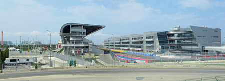 speedway park: SOCHI, RUSSIA - AUG 03, 2015: Spectator stands F1 Russian Grand Prix Sochi Circuit. Preparation for competitions to be held on 8-11 October 2015