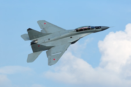 ZHUKOVSKY, RUSSIA - AUG 27, 2015: The Mikoyan MiG-35 (NATO reporting name: Fulcrum-F) is a Russian perspective multi-role fighter of 4++ generation at the International Aviation and Space salon MAKS-2015