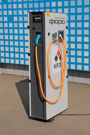 radio unit: ZHUKOVSKY, MOSCOW REGION, RUSSIA - AUG 28, 2015: The electric charging station Fara for electric vehicles production company KRET (Concern Radio-Electronic Technologies) at the International Aviation and Space salon MAKS-2015 Editorial
