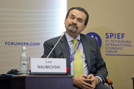 eurasia: SAINT-PETERSBURG, RUSSIA - JUN 18, 2016: St. Petersburg International Economic Forum SPIEF-2016. Lou Naumovski, Chairman of the National Board of Directors, The Canada Eurasia Russia Business Association (CERBA)