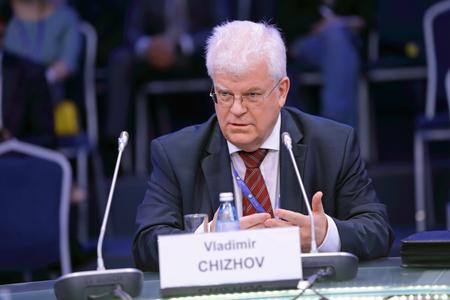 SAINT-PETERSBURG, RUSSIA - JUN 16, 2016: St. Petersburg International Economic Forum SPIEF-2016. Vladimir Alekseevich Chizhov is a Russian diplomat, Russias permanent representative to the European Union Editorial