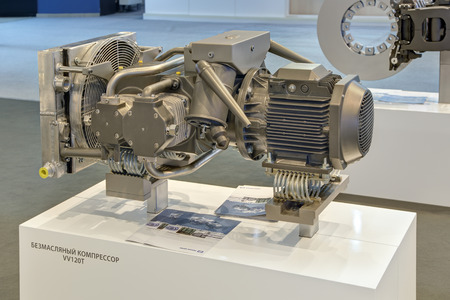 knorr: SAINT-PETERSBURG, RUSSIA - JUN 17, 2016: St. Petersburg International Economic Forum SPIEF-2016. The oil-free gas compressor of production at Knorr-Bremse to supply compressed air braking systems, pneumatic devices, railway wagon