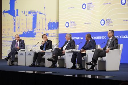barker: SAINT-PETERSBURG, RUSSIA - JUN 16, 2016: Thorold Barker, Ban Ki-moon, Jean-Claude Juncker, Alpha Conde and Tigran Sargsyan at the opening of the St. Petersburg International Economic Forum SPIEF-2016