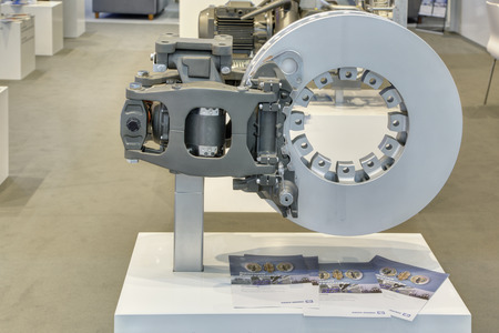 SAINT-PETERSBURG, RUSSIA - JUN 17, 2016: St. Petersburg International Economic Forum SPIEF-2016. The braking clamp mechanism for high-speed trains of production at Knorr-Bremse Editorial