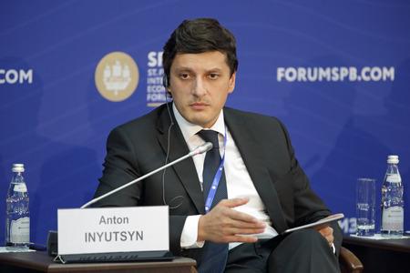 anton: SAINT-PETERSBURG, RUSSIA - JUN 17, 2016: St. Petersburg International Economic Forum SPIEF-2016. Anton Inyutsyn, Deputy Minister of Energy of the Russian Federation