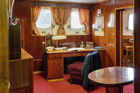 stateroom: MURMANSK, RUSSIA - FEB 17, 2016: Interior of the Soviet atomic icebreaker Lenin, the captains cabin of the ship
