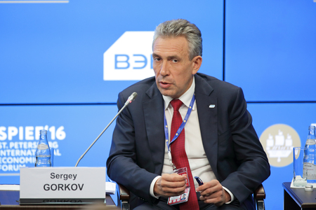statesman: SAINT-PETERSBURG, RUSSIA - JUN 17, 2016: St. Petersburg International Economic Forum SPIEF-2016. Sergey Gorkov, Chairman, Bank for Development and Foreign Economic Affairs (Vnesheconombank)