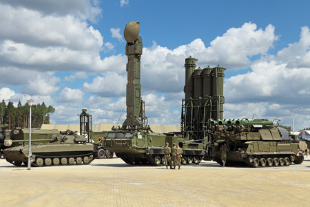 KUBINKA, MOSCOW OBLAST, RUSSIA - JUN 9, 2015: International military-technical forum ARMY-2015 in military-Patriotic park. Canoniac launcher air defense S-300 (SA-10 Grumble) and Buk missile system (SA-11 Gadfly) Editorial
