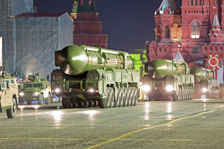 MOSCOW, RUSSIA - MAY 05, 2016: Rehearsal celebration of the 71th anniversary of the Victory Day (WWII). Night rehearsal of parade on Red Square. The RS-24 (RT-24) Yars or Topol-MR (NATO reporting name: SS-27 Mod 2) is a Russian MIRV-equipped, thermonuclea