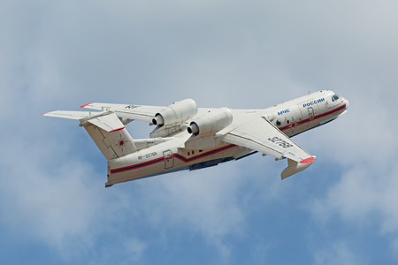 ZHUKOVSKY, MOSCOW REGION, RUSSIA - AUG 28, 2015: The Beriev Be-200 Altair is a multipurpose amphibious aircraft designed by the Beriev Aircraft Company at the International Aviation and Space salon MAKS-2015